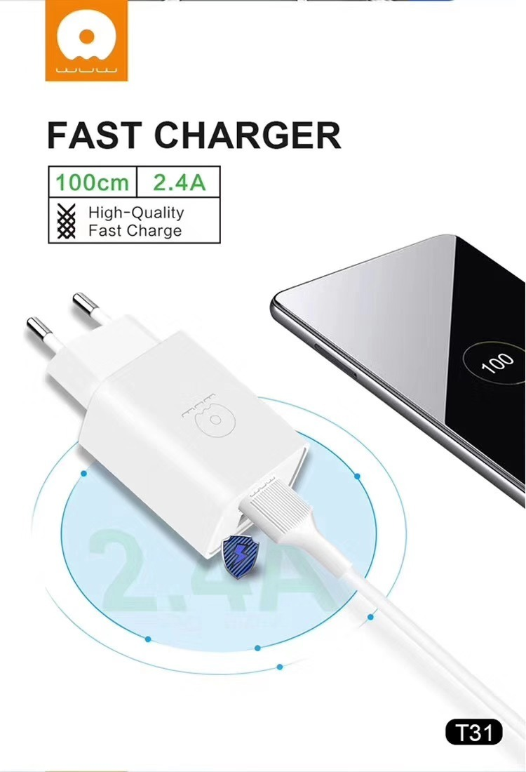 JLW Home Charger WUW-T31 2USB 5V 2.4A + Cable Lightning 1M White MOQ:87 (EU) - buy with delivery from China | F2 Spare Parts