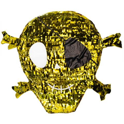 Пиньята Череп Пирата золотой