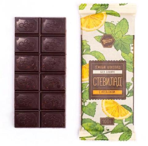 Темный шоколад Стевилад с апельсином, 100 г