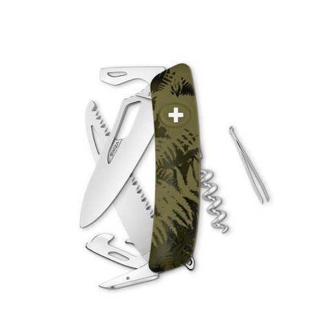 Швейцарский нож SWIZA SH05 R Camouflage, 95 мм, 13 функций, камо зеленый