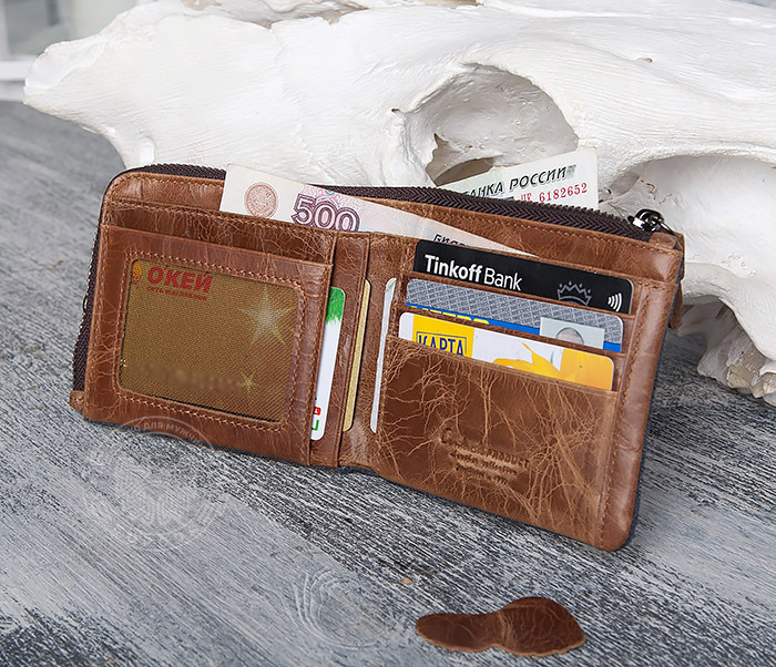 WL278-2 Необычное мужское портмоне из кожи с дополнительным отделением фото 06