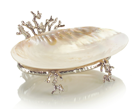 Silver Coral Stand with Shell