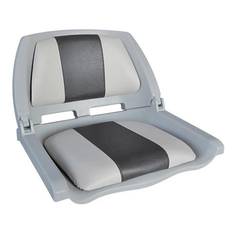 Сиденье пластмассовое складное с подложкой Molded Fold-Down Boat Seat, серо-черное