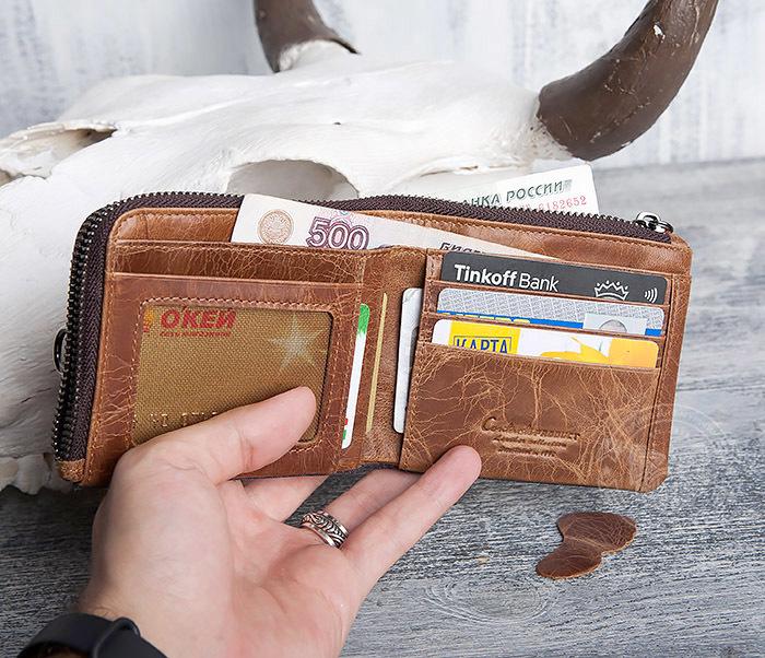 WL278-2 Необычное мужское портмоне из кожи с дополнительным отделением фото 07