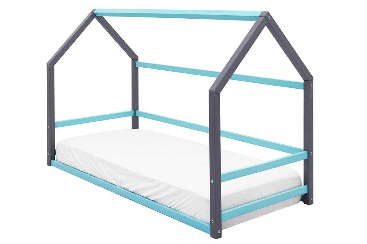 Кровать-домик Монтессори «Svogen» графит-мятный