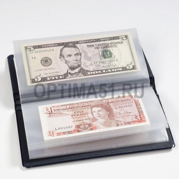 Карманный альбом для банкнот, 20 листов 170 x 85 мм, синий