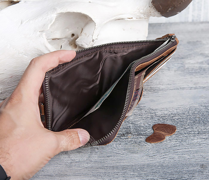 WL278-2 Необычное мужское портмоне из кожи с дополнительным отделением фото 08
