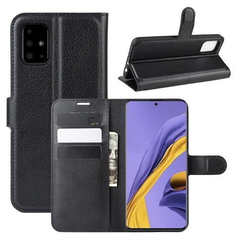 Чехол книжка черного цвета на Samsung Galaxy A51, с отсеком для карт и подставкой от Caseport