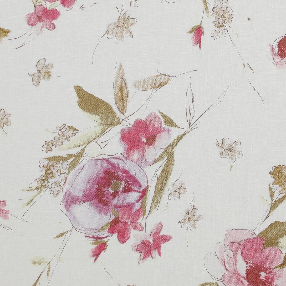 Льняное набивное полотно с тонким рисунком