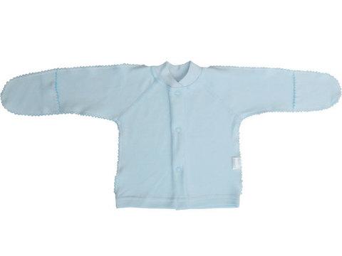 Папитто. Кофточка однотонная с закрытыми ручками, интерлок, голубая, р. 50