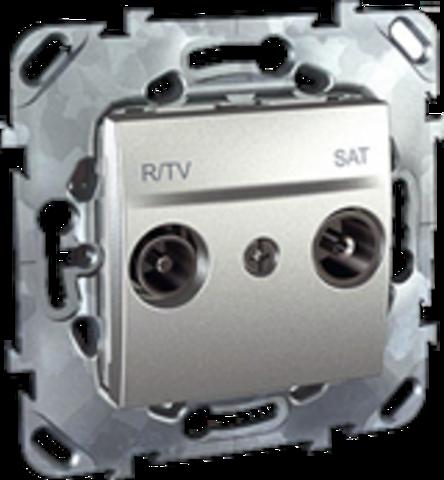Розетка R-TV/SAT проходная. Цвет Алюминий. Schneider electric Unica Top. MGU5.456.30ZD