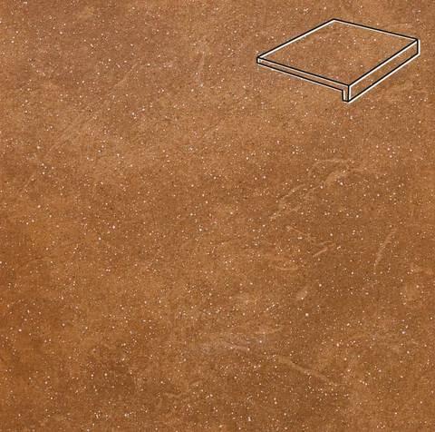 Stroeher - Keraplatte Roccia 839 ferro 240x175x52x10 артикул 4816 - Клинкерная ступень, прямой угол