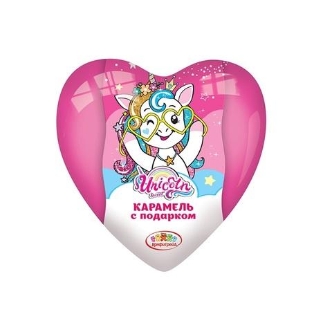 UNICORN Карамель с подарком в пластиковом сердце 1кор*8бл*8шт, 15г.