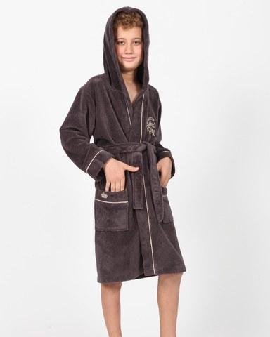 Халат для мальчика  с капюшоном NYC коричневый  NUSA Турция
