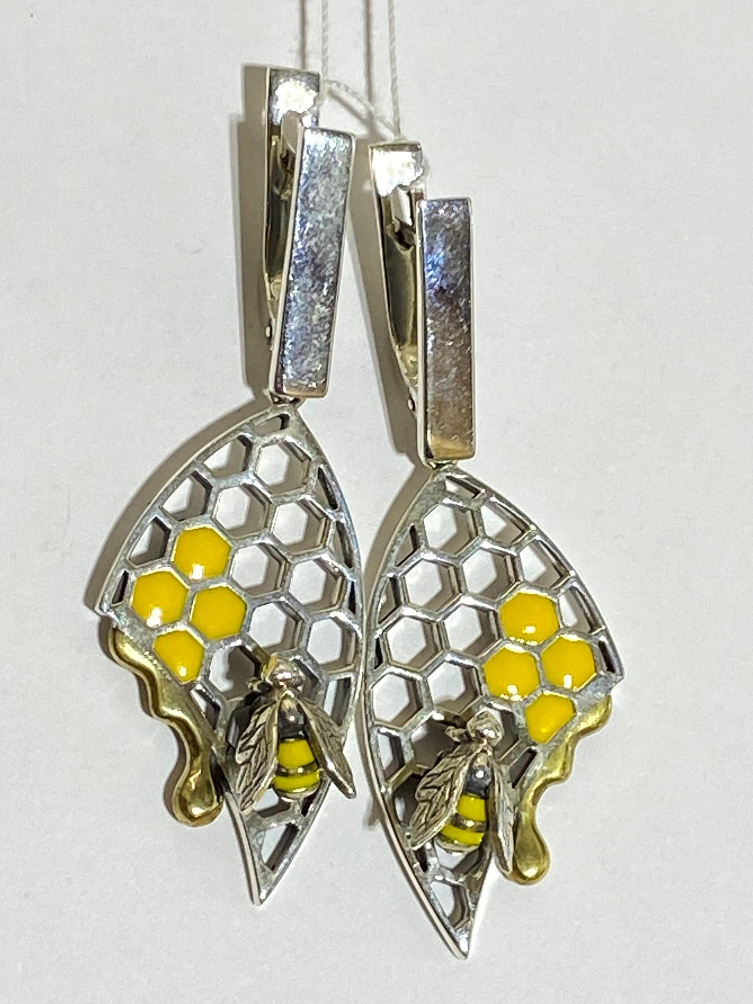 Пчелка (серьги из серебра)