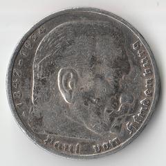 Монета 5 марок 1935 года. Третий Рейх Германия. Гиндербург.