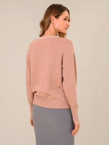 Женский джемпер бежево-розового цвета из шерсти и вискозы - фото 4