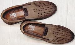 Красивые туфли мокасины мужские кожаные кэжуал стиль летние Luciano Bellini 91737-S-307 Coffee.