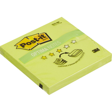 Стикеры Z-сложения Post-it 76х76 мм неоновые зеленые для диспенсера (1 блок, 100 листов)