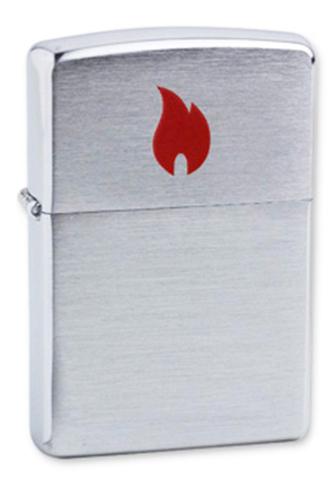 Зажигалка Zippo Red Flame с покрытием Brushed Chrome, латунь/сталь, серебристая, матовая123