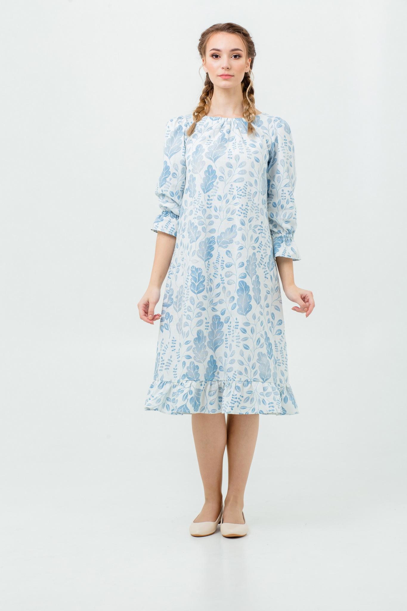 Платье льняное Голубая дымка