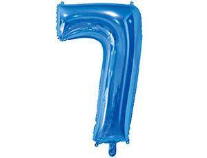 Цифра 7 синяя с гелием 65 см