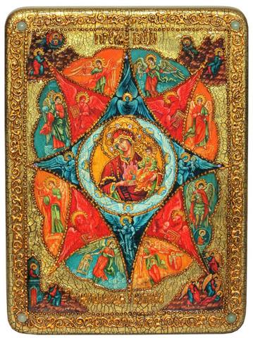 Инкрустированная икона Образ Божией Матери Неопалимая купина 29х21см на натуральном дереве в подарочной коробке