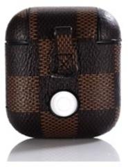 Чехол на AirPods шахматное поле (темно-коричневый) экокожа