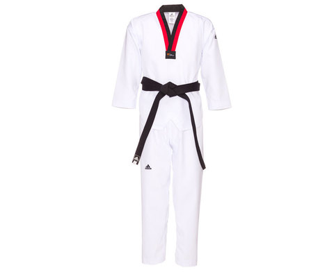 Добок для тхэквондо подростковый WT Adi-Start белый с красно-черным воротником