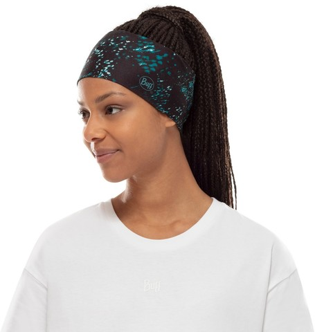 Повязка на голову спортивная Buff Headband CoolNet Speckle Black фото 2