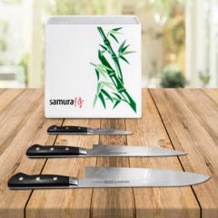 Набор из 3 ножей Samura PRO-S (10, 95, 87) и подставка KBH-101BW
