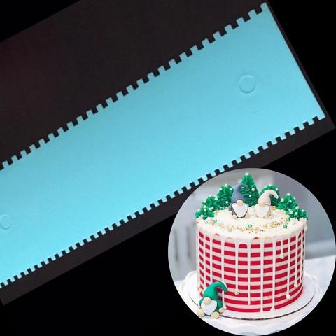 Шпатель кондитерский голубой ВЫСОКИЙ ДВОЙНОЙ (узор полосы)(Размер всего шпателя 255х75мм)