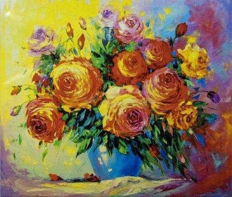 Алмазная Мозаика 20x30 Розы на ярком фоне (арт. JS24660 )