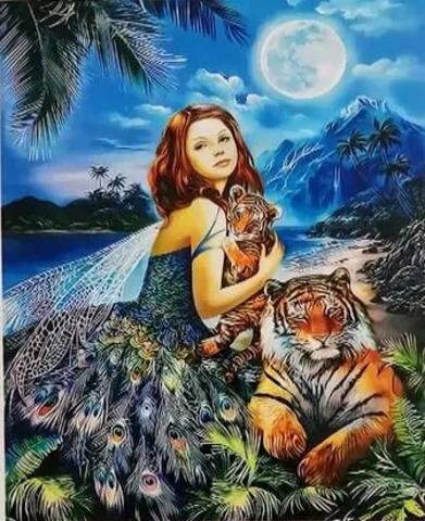 Алмазная Мозаика 5D 40x50 Фея и тигры (арт. HZ8118)