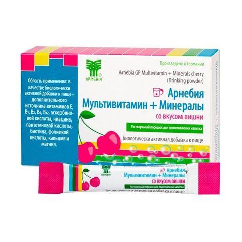 Арнебия Мультивитамин + Минералы со вкусом вишни, 10 пакетиков по 5 гр