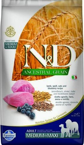 Сухой корм для собак Farmina N&D Ancestral Grain Adult Medium & Maxi низкозерновой с ягненком и черникой, 12кг