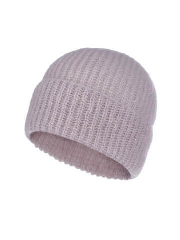 Женская шапка светло-розового цвета из мохера - фото 1