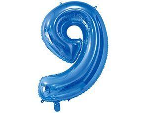Цифра 9 синяя с гелием 65 см