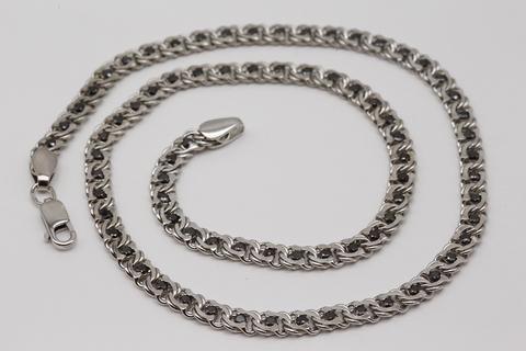 Серебряная цепь бисмарк с черными фианитами 530-ЦРП-0,8-430/2