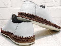 Кожаные слипоны мужские туфли лето casual premium Luciano Bellini 91724-S-304 All White.