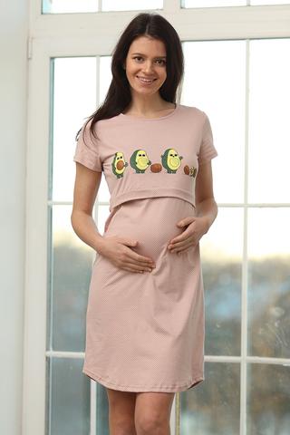 Сорочка для беременных и кормящих 12728 бежевый