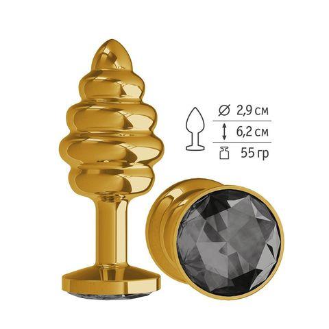 Золотистая пробка с рёбрышками и черным кристаллом - 7 см.
