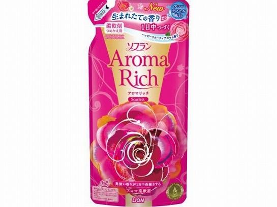 Ополаскиватель, Lion, Soflan Aroma Rich Scarlett, с натуральными ароматическими маслами, сменный блок, 450мл