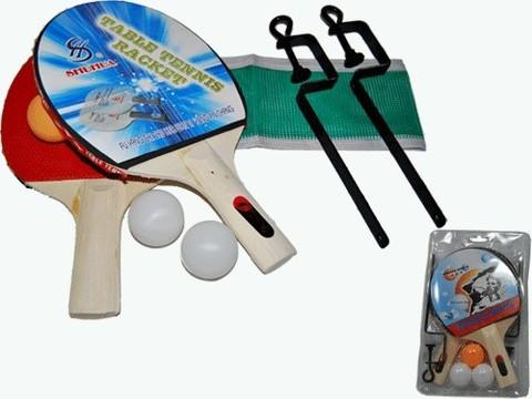 Набор для игры в настольный теннис. В комплекте: 2 ракетки, 3 шарика, стойки, сетка. Комплект запаян в слюду. :(SH-012):