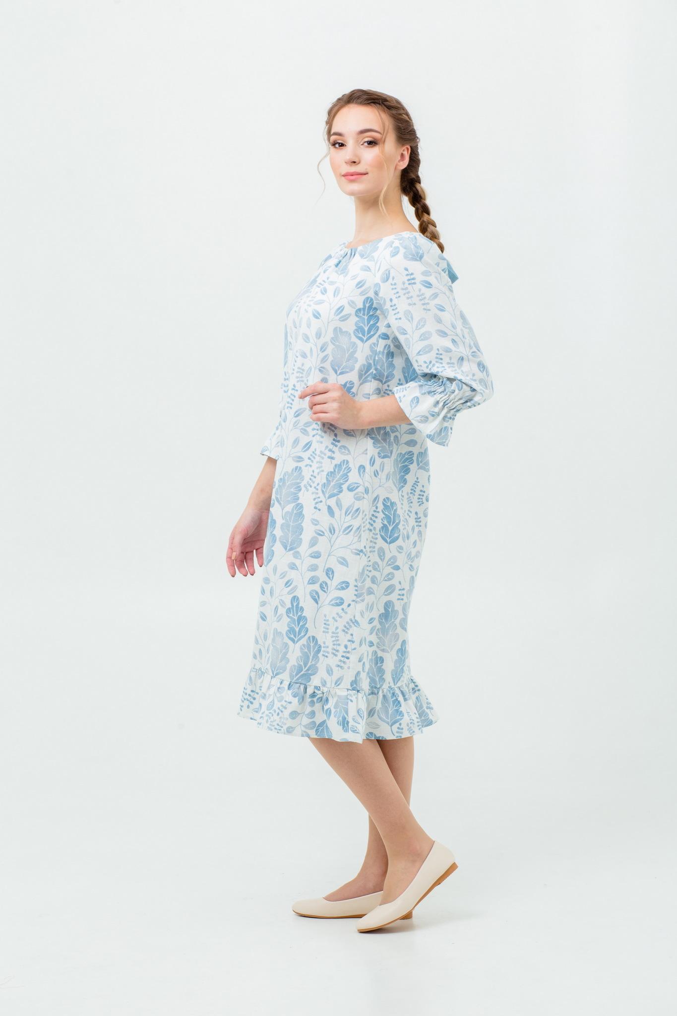 Платье большой размер Голубая дымка