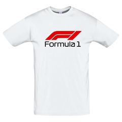Футболка с принтом Формула-1 (Гонки/ F1/ Formula 1) белая 0018