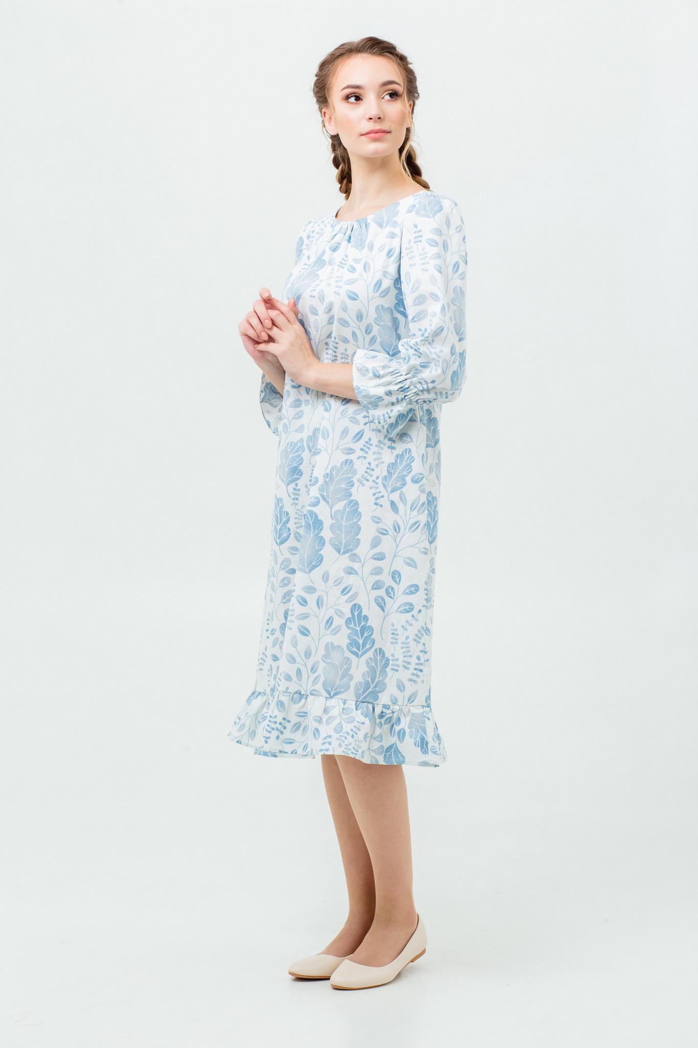 Платье в народном стиле Голубая дымка