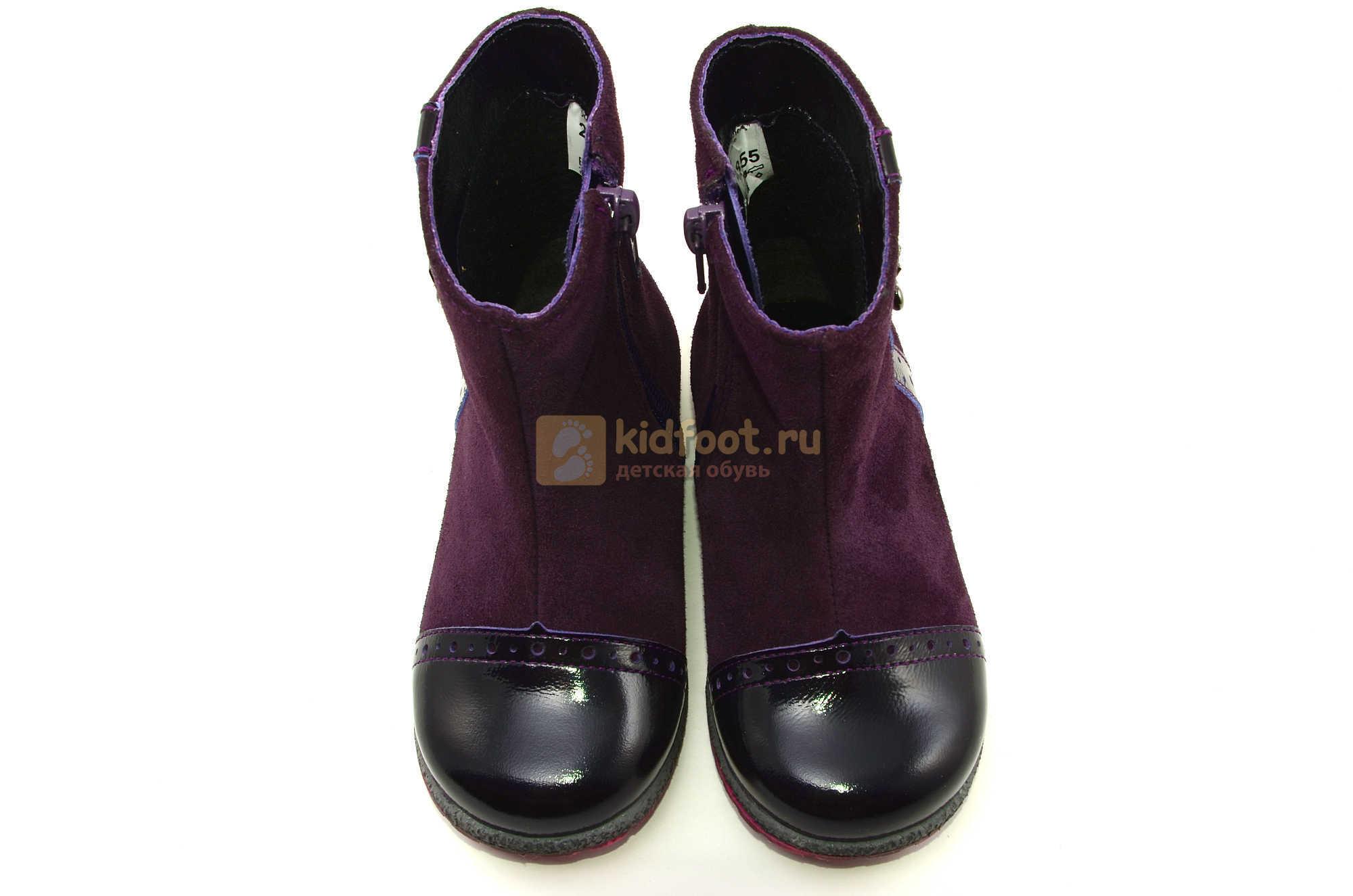 Демисезонные полусапожки Лель (LEL) из натуральной кожи на байке для девочек, цвет фиолетовый