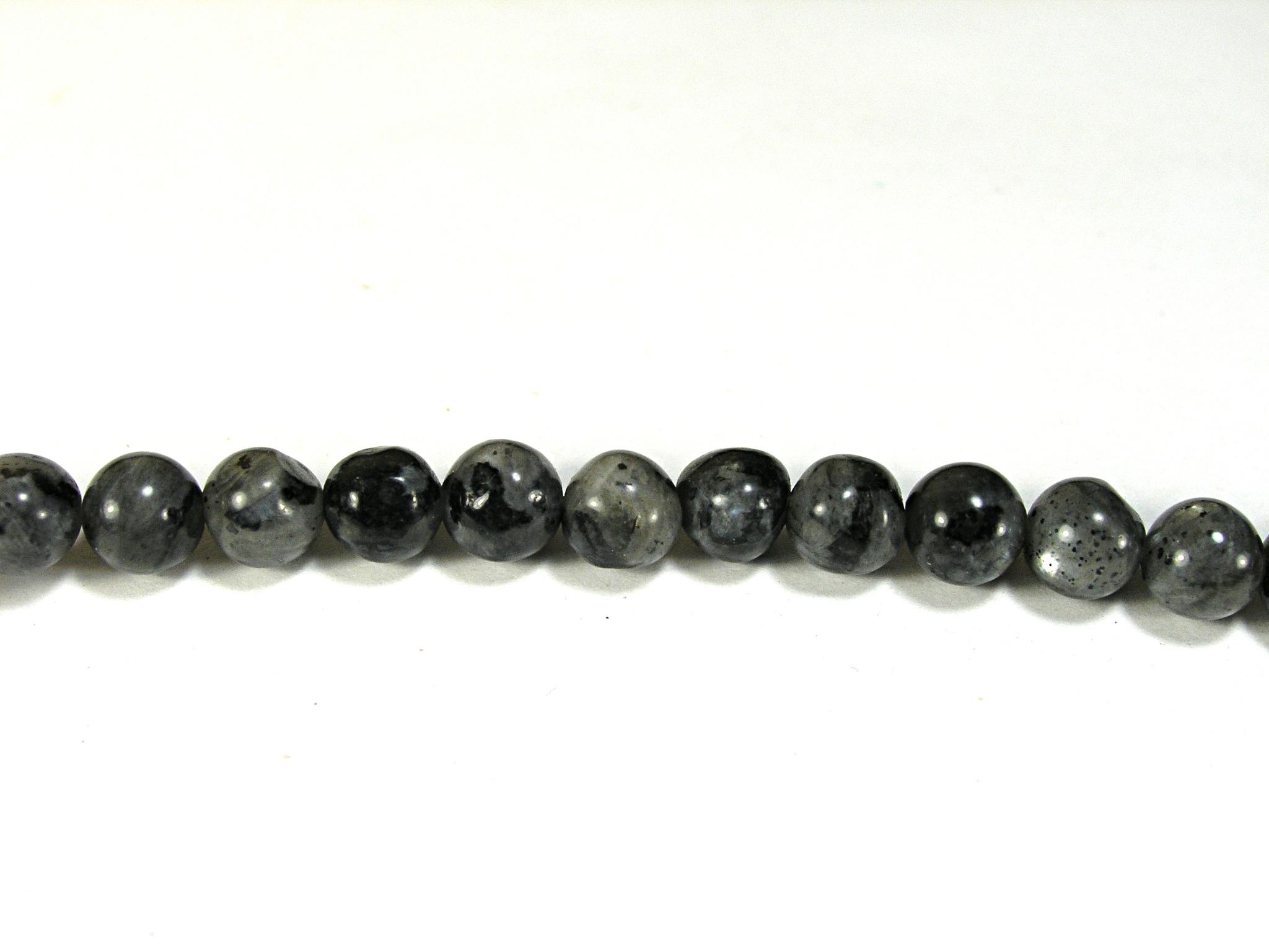 Бусина из лабрадора черного, шар гладкий 6мм