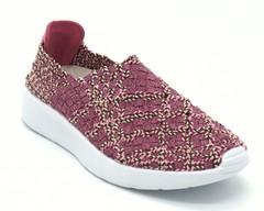 Розовые текстильные полуботинки на платформе